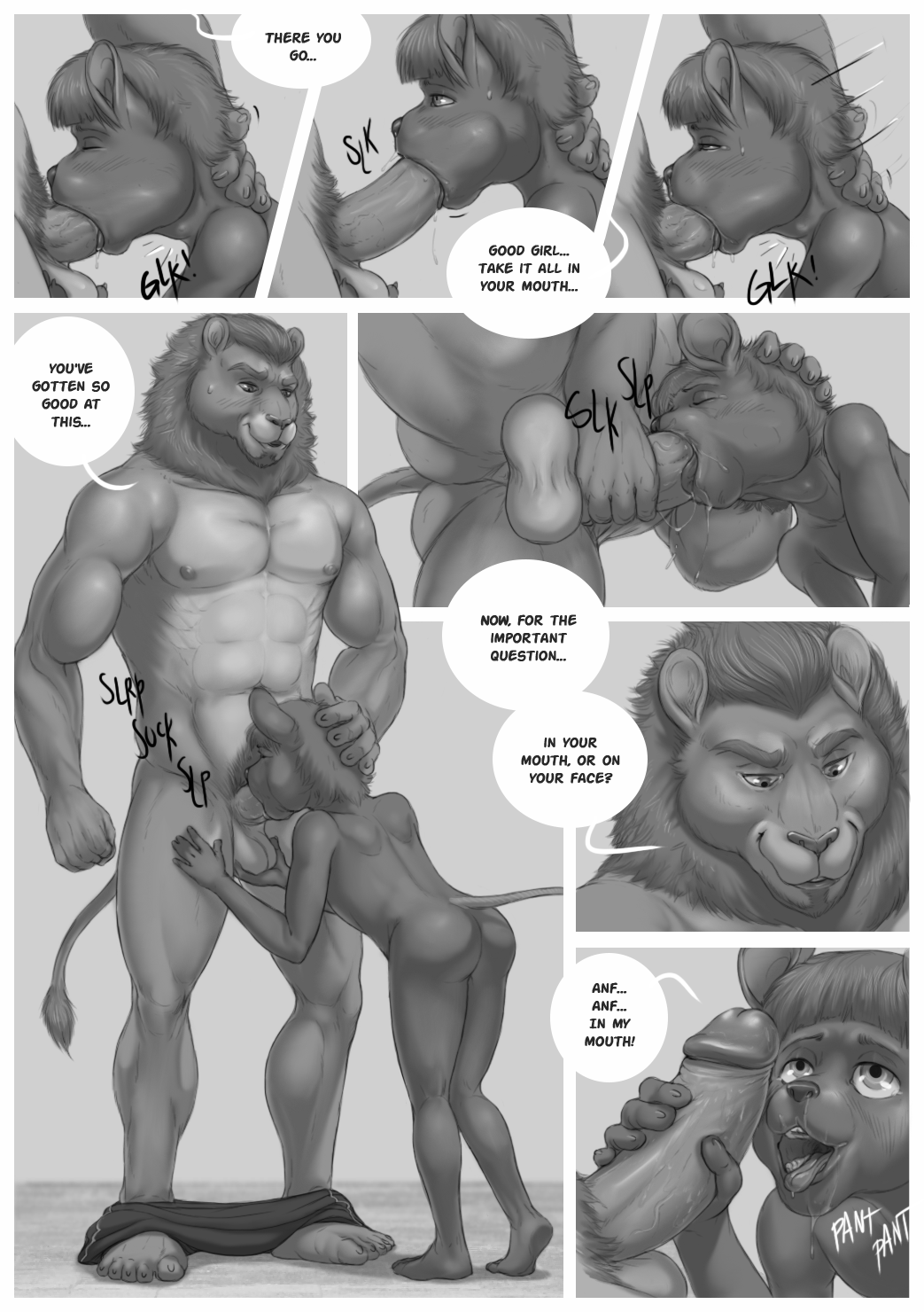 abs age_difference athletic balls bent_over breath butt comic cub deep_throat duo erect feline female gagging greyscale humanoid_penis lion looking_up low-angle_view male male/female mammal mane monochrome mouse muscular naughty_face neck_bulge nipples nude oral panting pants_around_feet pecs penis penis_grab perineum retracted_foreskin rodent rov shoving size_difference smile smirk sound_effects standing sweat sweatdrop uncut worm's-eye_view young