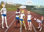 2017 anthro aogami canine cheetah clothed clothing cub digitigrade dog equine feline female fur group hi_res horse human lagomorph male mammal muscular partially_clothed plantigrade rabbit school shorts smile sport standing student teacher teacher_and_student text track track_and_field track_shorts young