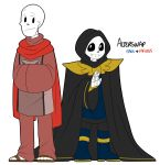 alterswap animated_skeleton bone boots cape clothing footwear friisans hi_res humanoid not_furry papyrus_(undertale) robe sans_(undertale) simple_background skeleton text undead undertale video_games white_background