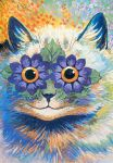 abstract ambiguous_gender cat colorful feline feral flower leaf looking_at_viewer original smile solo source_request surreal unknown_artist