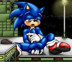 absurd_res anal anal_fingering athletic balls big_balls blue_fur blush buckles city clothing fingering footwear fur gloves green_eyes happyanthro hi_res legwear long_penis male masturbation multicolored_fur muscular open_mouth penis shoes sitting socks solo sonic_(series) sonic_the_hedgehog street_lamp tan_fur two_tone_fur