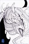 2018 ambiguous_gender dragon feral greyscale horn monochrome open_mouth shinerai sketch solo spines teeth tongue traditional_media_(artwork) wyvern