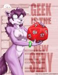 2018 anthro barely_visible_genitalia barely_visible_pussy canine cheek_tuft chest_tuft d20 dice eyewear female fox frizzy_fox fur furafterdark glasses hair holding_object inner_ear_fluff mammal multicolored_fur navel nude portrait purple_fur purple_hair pussy smile solo style_wager text three-quarter_portrait tuft two_tone_fur
