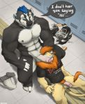 5_fingers 5_toes abs anthro athletic badger balls beard bench biceps black_fur black_nose blue_eyes blue_hair boots bottomless brown_mane cheek_tuft chest_tuft claws clothed clothing cobaltbadger_(character) d.a.r.e. daren dialogue discarded_clothing duo ear_piercing english_text erect facial_hair fangs feet felid flaccid footwear fur genital_piercing glans goatee grey_nipples grin hair head_grab humanoid_feet humanoid_penis inside interspecies jockstrap kirron larger_male lion locker locker_room male male/male mammal mohawk muscular musk mustelid nipples nude on_bench open_mouth open_smile pantherine partially_retracted_foreskin pecs penis penis_piercing piercing pink_nose plantigrade pose prince_albert_piercing proerd pubes retracted_foreskin shirt sitting size_difference smaller_male smile speech_bubble tail_tuft tan_fur teeth text toe_claws toes tongue topless tuft uncut underwear vein white_fur yellow_eyes