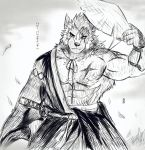 2019 617foreverwithy abs anthro biceps canid canine canis clothing digital_media_(artwork) fur hair hi_res male mammal monochrome muscular muscular_male pecs scar sketch solo wolf