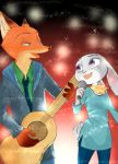 abstract_background canid canine clothed clothing disney duo eye_contact female fox fully_clothed fur green_eyes grey_body grey_fur guitar holding_object judy_hopps looking_at_another male mammal microphone musical_instrument nick_wilde orange_body orange_fur plucked_string_instrument purple_eyes red_fox singing sou string_instrument zootopia