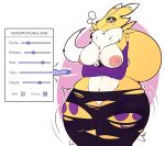 alpha_channel anthro armwear big_breasts blue_eyes blush breasts canid canine clothing convenient_censorship crossed_arms digimon digimon_(species) elbow_gloves expansion female fur gloves handwear hi_res legwear lightningfire12 looking_at_viewer mammal nipples renamon simple_background solo standing thick_thighs thigh_highs torn_clothing transformation transparent_background white_body wide_hips yellow_body yellow_fur