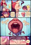 <3 <3_eyes anthro balls blush bodily_fluids clothed clothing comic cyancapsule dialogue domestic_pig duo emelie equid equine eyes_closed female genital_fluids genitals glory_hole gynomorph gynomorph/female hi_res humanoid_genitalia humanoid_penis imminent_oral imminent_sex intersex intersex/female mammal musical_note nila_(cyancapsule) open_mouth pants_down partially_clothed penis precum suid suina sus_(pig) toilet tongue tongue_out tube_top unamused wide_eyed