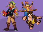 anthro avian backpack banjo-kazooie banjo_(banjo-kazooie) beak bird black_nose blue_eyes brown_body brown_fur clothed clothing crossover daxter digital_media_(artwork) eyewear female fur gloves goggles group handwear humanoid jak jak_and_daxter kazooie long_ears male mammal mustelid naughty_dog open_mouth ottsel rareware simple_background sony_corporation sony_interactive_entertainment ursid video_games xiamtheferret