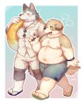 2020 anthro belly blush bottomwear canid canine canis clothing domestic_dog duo eyes_closed footwear hi_res kemono male male/male mammal moobs navel nipples overweight overweight_male ponpo_ko5 sandals shirt shorts topwear