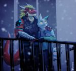 aladar_(character) anthro armor balcony catkitte clothing couple_(disambiguation) delga dragon duo fangs fur gauntlets gloves handwear happy hi_res hoodie horn ice lights_off looking_up male male/male muscular nintendo pokémon pokémon_(species) smile snow tattoo topwear video_games white_body white_fur zangoose