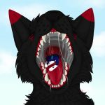 anthro black_body black_fur black_nose blue_body blue_fur bodily_fluids canid canine canis chik0 chikorainfox demon domestic_dog duo eating fangs feral focus focused forced fox fur hi_res macro macromicro male male/male mammal mawplay micro micro_on_macro micromacro mouth_shot open_mouth oral predator/prey prey saliva saliva_drip saliva_on_tongue samuelwolfo sex sharp_teeth size_difference swallowing teeth teeth_showing tongue tongue_out vore vore_sex wolf zeromusfur