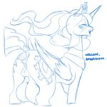 anal anal_penetration big_breasts big_teats breasts cold-blooded-twilight dialogue equid female friendship_is_magic genitals hasbro hi_res horn huge_breasts mammal monochrome my_little_pony penetration princess_celestia_(mlp) pussy solo teats winged_unicorn wings