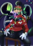 absurd_res anthro aurora_borealis big_breasts breast_squish breasts canid canine canis christmas christmas_clothing christmas_lights christmas_sweater christmas_topwear clitoris clothing cookie disney domestic_dog erect_nipples eyewear fan_character female food genitals glasses gloves goof_troop handwear hi_res hidden_mickey holidays long_ears mammal mistletoe nebula_(toonsexual) nipples plant pussy solo spread_legs spreading squish sweater toonsexual toony topwear window