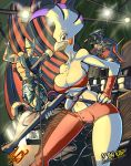 avian band big_breasts breasts cleavage clothed clothing cockatoo colored concert drum_set drums english_text feline female guitar jaeh jaeh_(character) looking_at_viewer male mammal microphone music open_mouth rock signature stage tail_clothing text tight_clothing topless
