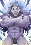 2020 abs anthro biceps black_hair blue_eyes bulge chain chest_tuft claws clothed clothing crossed_arms facial_hair fangs felid finger_claws fur grey_body grey_fur hair horn lion looking_at_viewer male mammal mane mane_hair mumu202 muscular muscular_anthro muscular_male navel navel_piercing open_mouth pantherine piercing portrait pubes pubic_tattoo quads sharp_teeth skimpy solo standing straps tattoo teeth thong three-quarter_portrait tongue triceps tuft underwear