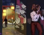 absurd_res alley anthro assassin big_floppa bingus black_body canid canine canis city cityscape clothed clothing detailed_background ehru_(sligarthetiger) flyer_(pamphlet) frostyphox group gun hi_res hiding hybrid male mammal night pamphlet ranged_weapon serious shirt solo suit topwear vehicle weapon white_clothing white_shirt white_topwear wolf