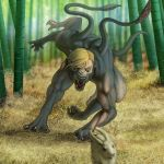 anthro bamboo blonde_hair chasing claws collar displacer_beast feral forest fur grey_body grey_fur hair hi_res human_to_anthro lagomorph leporid male mammal multi_arm multi_limb muscular nude open_mouth plant rabbit snarling solo species_transformation spiked_collar spikes tellarasa tentacles toe_claws transformation tree yellow_eyes