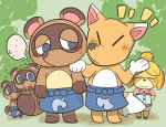 ... animal_crossing anthro apron blue_eyes blush brown_body brown_fur canid canine clothing crazy_redd female fox fur group inukawa isabelle_(animal_crossing) male mammal nintendo raccoon_dog red_body red_fur tanuki timmy_nook tom_nook_(animal_crossing) tommy_nook video_games