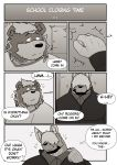 2021 absurd_res alfredblaze anthro beard canid canine canis clothing comic duo english_text facial_hair hi_res male mammal overweight overweight_male rogers_(alfredblaze) roy_blake shirt spectacled_bear text topwear tremarctine ursid wolf