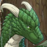 2021 ambiguous_gender curved_horn digital_media_(artwork) dragon feral green_body green_eyes green_scales greeny_(odisaodi) happy horn jay-kuro low_res plant raining scales smile solo tree wet wet_body wet_scales white_body white_horn white_scales