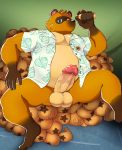 2021 animal_crossing anthro balls belly brown_body brown_fur canid canine clothed clothing detailed_background erect fur genitals hi_res humanoid_genitalia humanoid_hands humanoid_penis kemono male mammal nintendo open_clothing open_shirt open_topwear overweight overweight_anthro overweight_male penis raccoon_dog shirt sitting solo tanuki tom_nook_(animal_crossing) topwear video_games xana_kemo