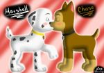 blush canid canine canis chase_(paw_patrol) domestic_dog duo eyes_closed feral jocelynminions kissing male male/male mammal marshall_(paw_patrol) mouth_play paw_patrol raised_leg shocked_expression wide_eyed