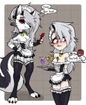 2021 3_toes anthro blush breasts canid canid_demon centinel303 cleavage clothed clothing demon ear_piercing ear_ring eyebrow_piercing eyebrow_ring facial_piercing feet female hellhound helluva_boss human loona_(vivzmind) maid_uniform mammal phone piercing red_eyes red_sclera solo toes uniform vortex_(vivzmind) waiter