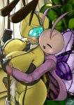 antennae_(anatomy) anthro arthropod bee big_breasts big_butt blush breast_grab breasts butt butterfly clothed clothing curvy_figure digital_media_(artwork) duo embarrassed eyebrows female female/female hand_on_breast hi_res huge_butt hymenopteran insect insect_wings legwear lepidopteran maid_headdress maid_uniform melobee mostly_nude nyunbee skimpy smile stockings thick_thighs thigh_highs uniform voluptuous wide_hips wide_thighs wings woebeeme