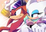 2019 anthro armwear black_nose boots breasts chiropteran clothing duo echidna elbow_gloves eyeshadow eyewear female footwear gloves goggles green_eyes hair handwear knuckles_the_echidna lipstick makeup male mammal monotreme purple_eyes red_body red_hair rouge_the_bat sega smile sonic_the_hedgehog_(series) tan_body white_hair y-firestar