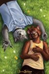 5_fingers anthro canid canine canis clothed clothing digital_media_(artwork) duo feet fingers flower fur gesture grass hair happy hi_res jakeseeker looking_at_viewer lying lying_on_ground male mammal pawpads plant procyonid raccoon simple_background teeth toes wolf