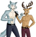 2021 5_fingers abs absurd_res anthro antlers arm_scar athletic athletic_anthro athletic_male beastars belt black_nose bottomwear brown_body brown_fur canid canine canis cervid cervine claws clothed clothing countershade_face countershade_torso countershading digital_media_(artwork) duo eye_scar facial_scar finger_claws fingers fur grey_body grey_fur gun hand_on_hip hand_on_own_hip handgun hi_res holding_gun holding_handgun holding_object holding_pistol holding_weapon horn humanoid_hands jde10 legoshi_(beastars) looking_at_viewer louis_(beastars) male mammal multicolored_body multicolored_fur navel pants pistol ranged_weapon red_deer scar signature simple_background standing tan_body tan_countershading tan_fur topless topless_male trigger_discipline two_tone_body two_tone_fur weapon white_background wolf
