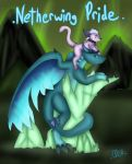 <3 2014 ambiguous_gender blue_eyes claws collar comic dragon drenmar duo english_text feline feral fur hair mammal markings netherdrake nude outside purple_fur raised_tail scalie scar side_view signature size_difference smile text toe_claws video_games warcraft white_hair wings world_of_warcraft