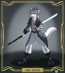 belt blue_eyes boots canine clothing duster_coat fangs footwear hair invalid_tag jedi kanj'isha lightsaber longcoat mammal melee_weapon polearm silver_hair simple_background staff star_wars teeth text valy_j._thunderbeast weapon wolf
